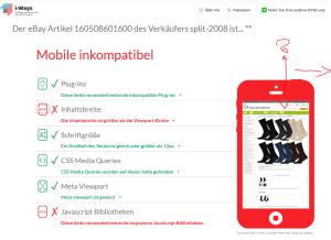 Test: zeigt irrtümlich Fehler an und eine falsche Darstellung auf Smartphones.