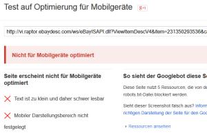 Das Google Testtol stuft die xsellerpro Templates als nicht mobil geeignet ein!